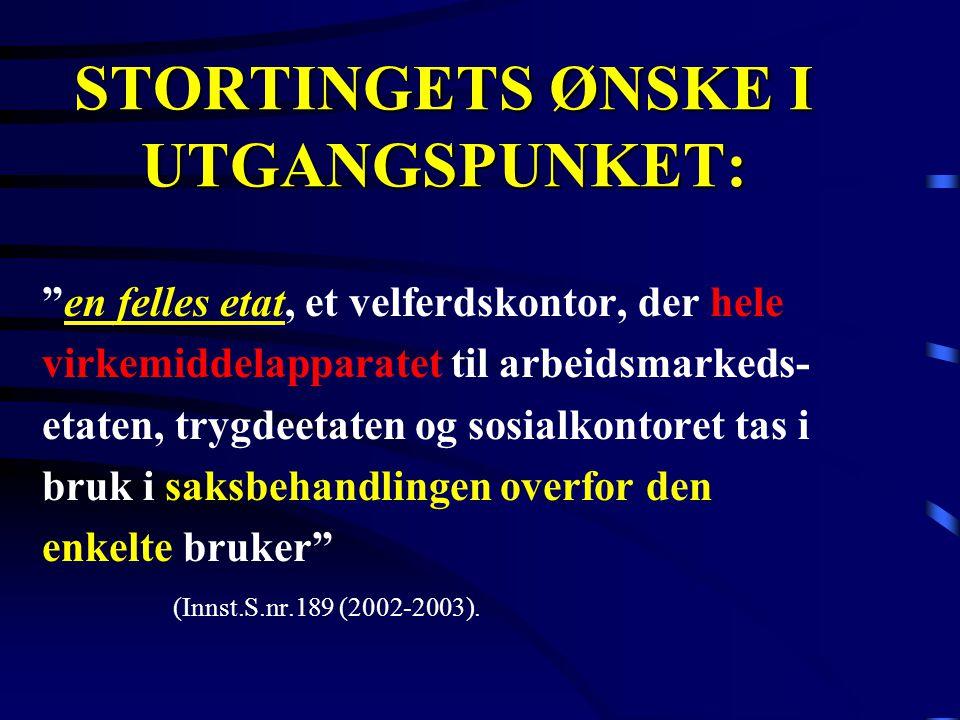 """STORTINGETS ØNSKE I UTGANGSPUNKET: """"en felles etat, et velferdskontor, der hele virkemiddelapparatet til arbeidsmarkeds- etaten, trygdeetaten og sosia"""
