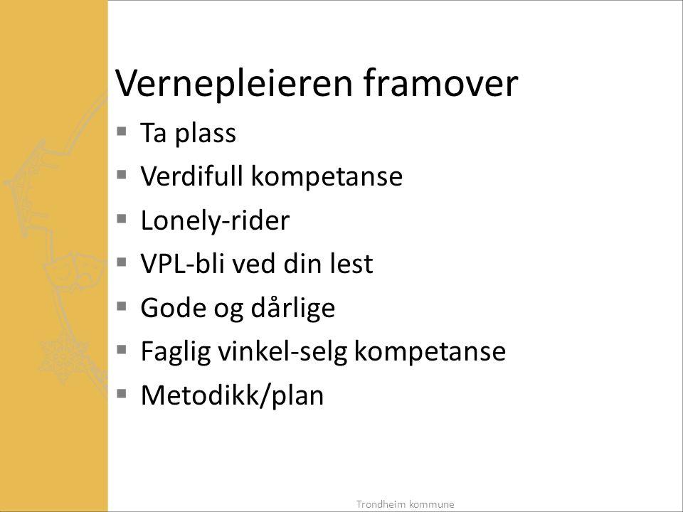 Vernepleieren framover  Ta plass  Verdifull kompetanse  Lonely-rider  VPL-bli ved din lest  Gode og dårlige  Faglig vinkel-selg kompetanse  Metodikk/plan Trondheim kommune