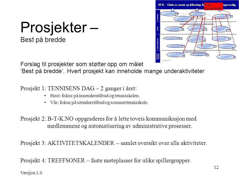 Versjon 1.0 12 Prosjekter – Best på bredde Forslag til prosjekter som støtter opp om målet 'Best på bredde'.