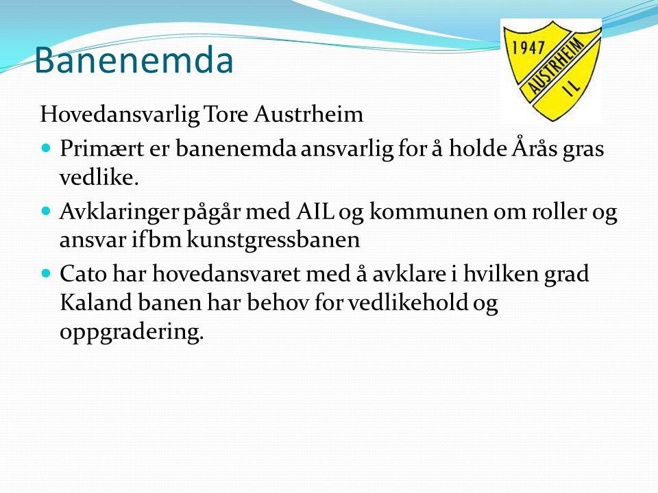 Banenemda Hovedansvarlig Tore Austrheim Primært er banenemda ansvarlig for å holde Årås gras vedlike. Avklaringer pågår med AIL og kommunen om roller