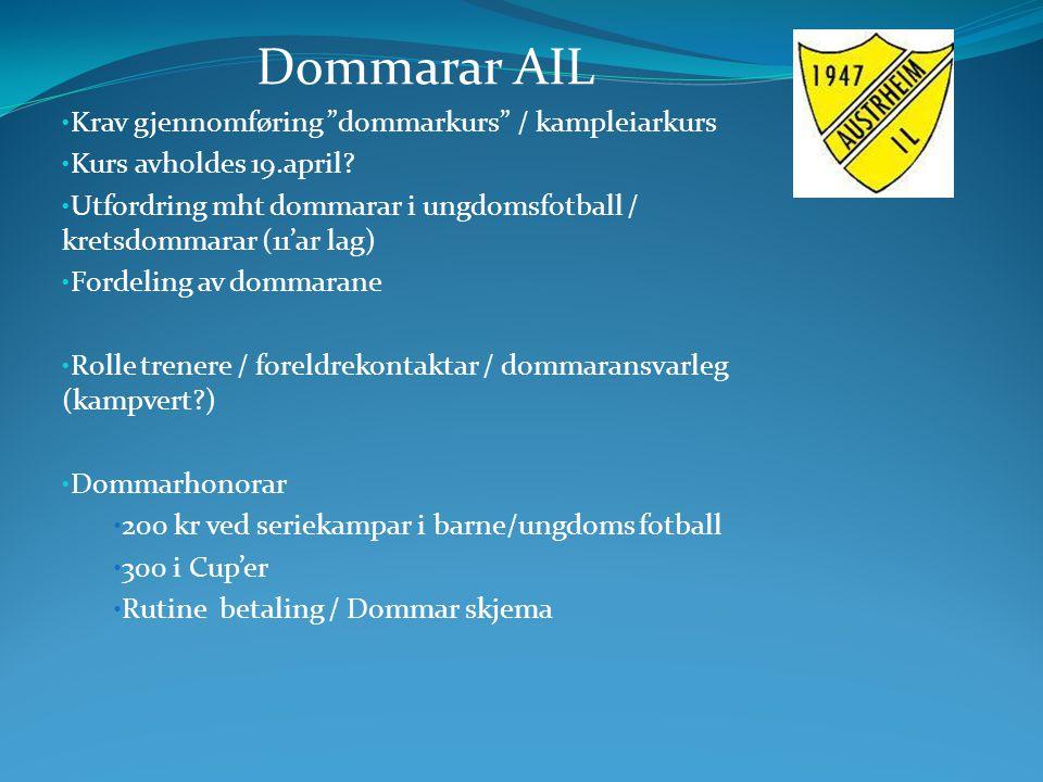 """Dommarar AIL Krav gjennomføring """"dommarkurs"""" / kampleiarkurs Kurs avholdes 19.april? Utfordring mht dommarar i ungdomsfotball / kretsdommarar (11'ar l"""