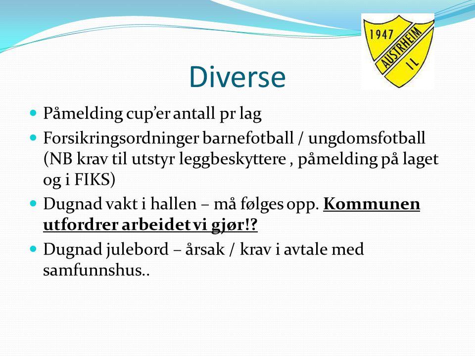 Diverse Påmelding cup'er antall pr lag Forsikringsordninger barnefotball / ungdomsfotball (NB krav til utstyr leggbeskyttere, påmelding på laget og i