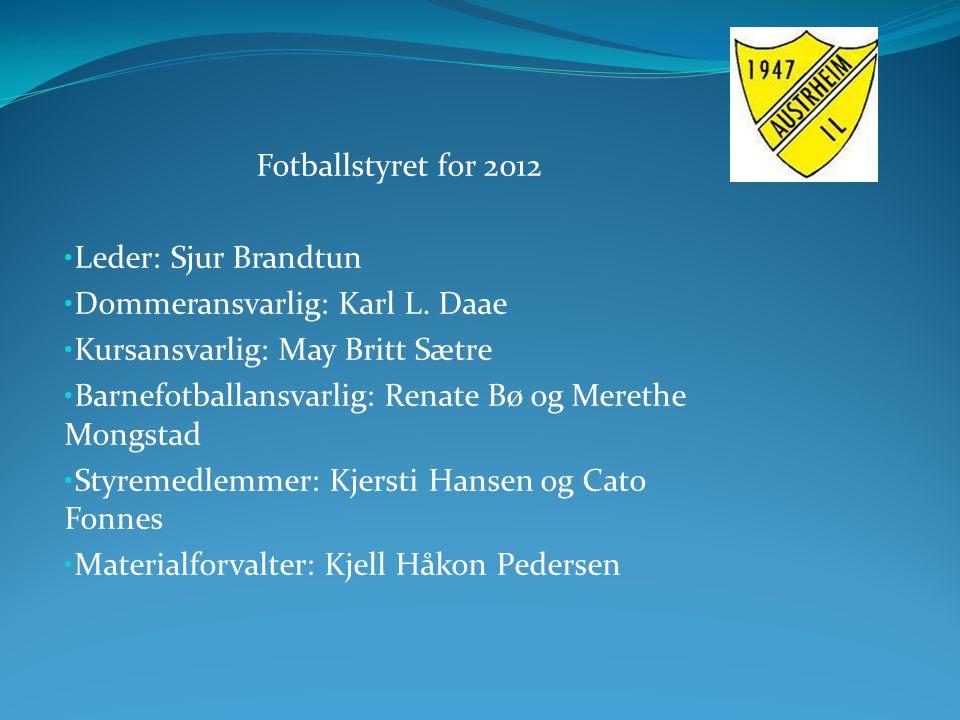 Fotballstyret for 2012 Leder: Sjur Brandtun Dommeransvarlig: Karl L. Daae Kursansvarlig: May Britt Sætre Barnefotballansvarlig: Renate Bø og Merethe M