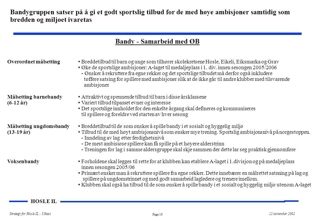 Page 16 HOSLE IL Strategi for Hosle IL - Utkast22.november 2002 Bandy - Samarbeid med ØB Overordnet målsetting Målsetting barnebandy (6-12 år) Målsett