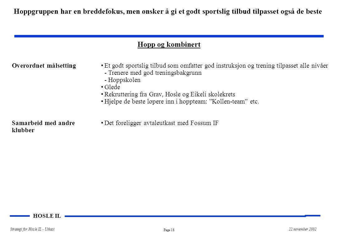 Page 18 HOSLE IL Strategi for Hosle IL - Utkast22.november 2002 Hopp og kombinert Overordnet målsetting Samarbeid med andre klubber Et godt sportslig