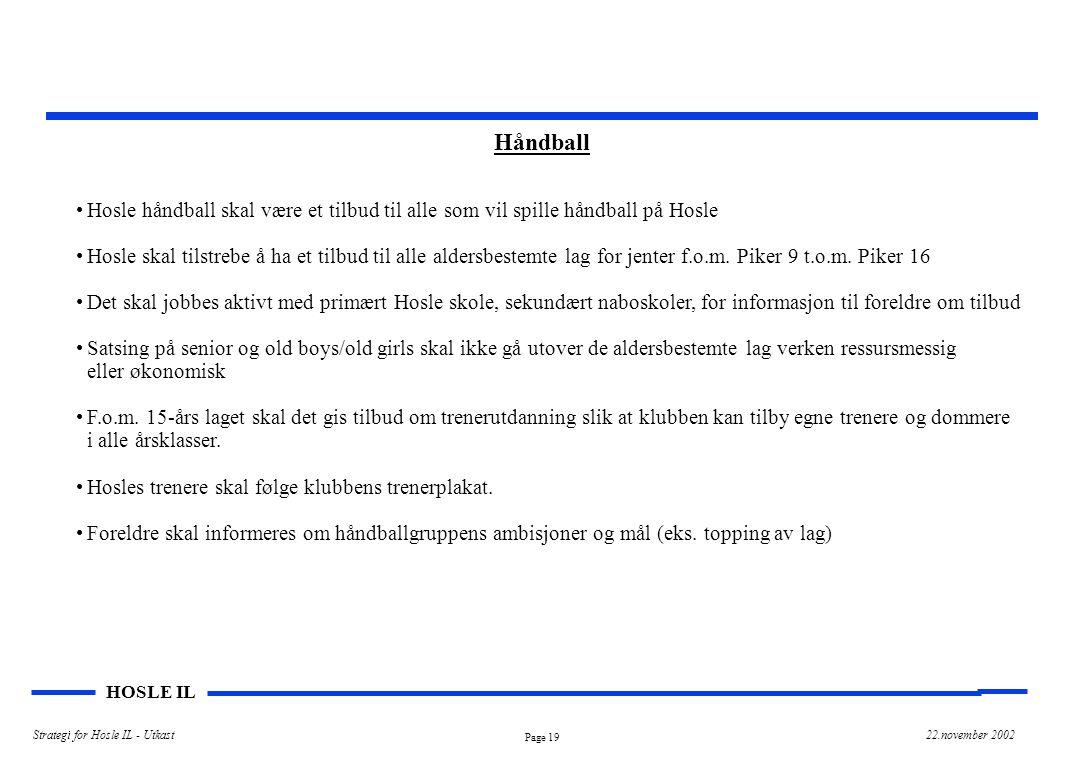 Page 19 HOSLE IL Strategi for Hosle IL - Utkast22.november 2002 Håndball Hosle håndball skal være et tilbud til alle som vil spille håndball på Hosle Hosle skal tilstrebe å ha et tilbud til alle aldersbestemte lag for jenter f.o.m.