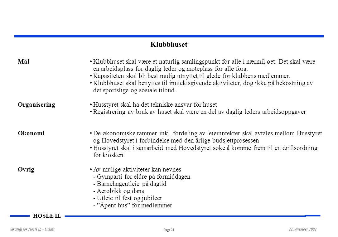 Page 21 HOSLE IL Strategi for Hosle IL - Utkast22.november 2002 Klubbhuset Mål Organisering Økonomi Øvrig Klubbhuset skal være et naturlig samlingspunkt for alle i nærmiljøet.
