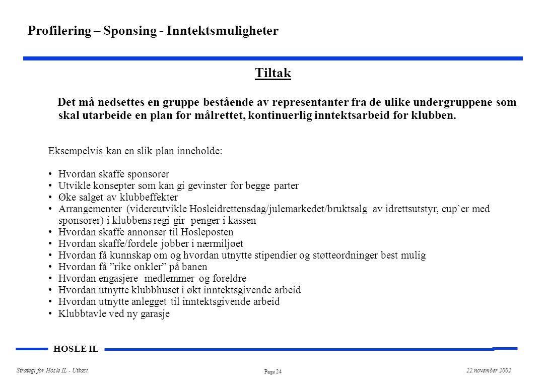 Page 25 HOSLE IL Strategi for Hosle IL - Utkast22.november 2002 Implementering av strategi – Forslag til prioriterte aktiviteter Sponsing/eksterne inntektsmuligheter Sikre tilstrekkelige inntekter ved bruk Av klubbhus, kontingenter etc.