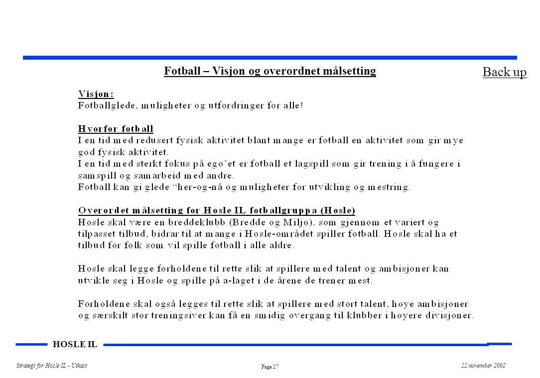 Page 27 HOSLE IL Strategi for Hosle IL - Utkast22.november 2002 Fotball – Visjon og overordnet målsetting Back up