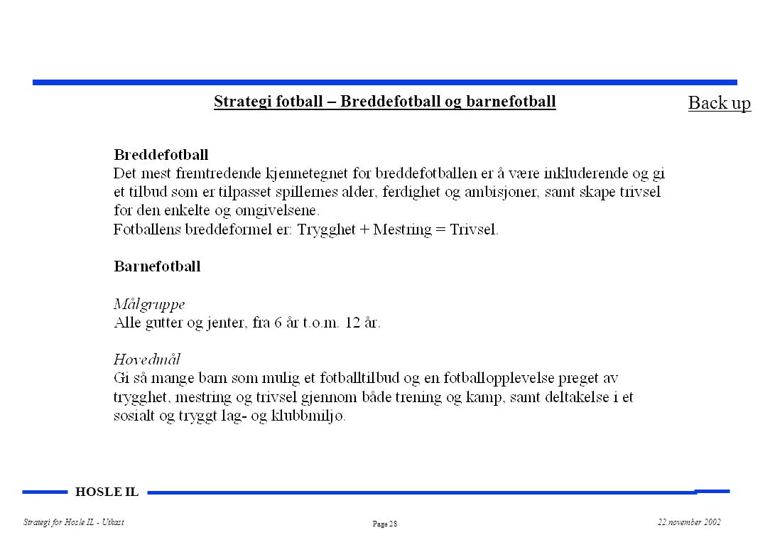 Page 28 HOSLE IL Strategi for Hosle IL - Utkast22.november 2002 Strategi fotball – Breddefotball og barnefotball Back up