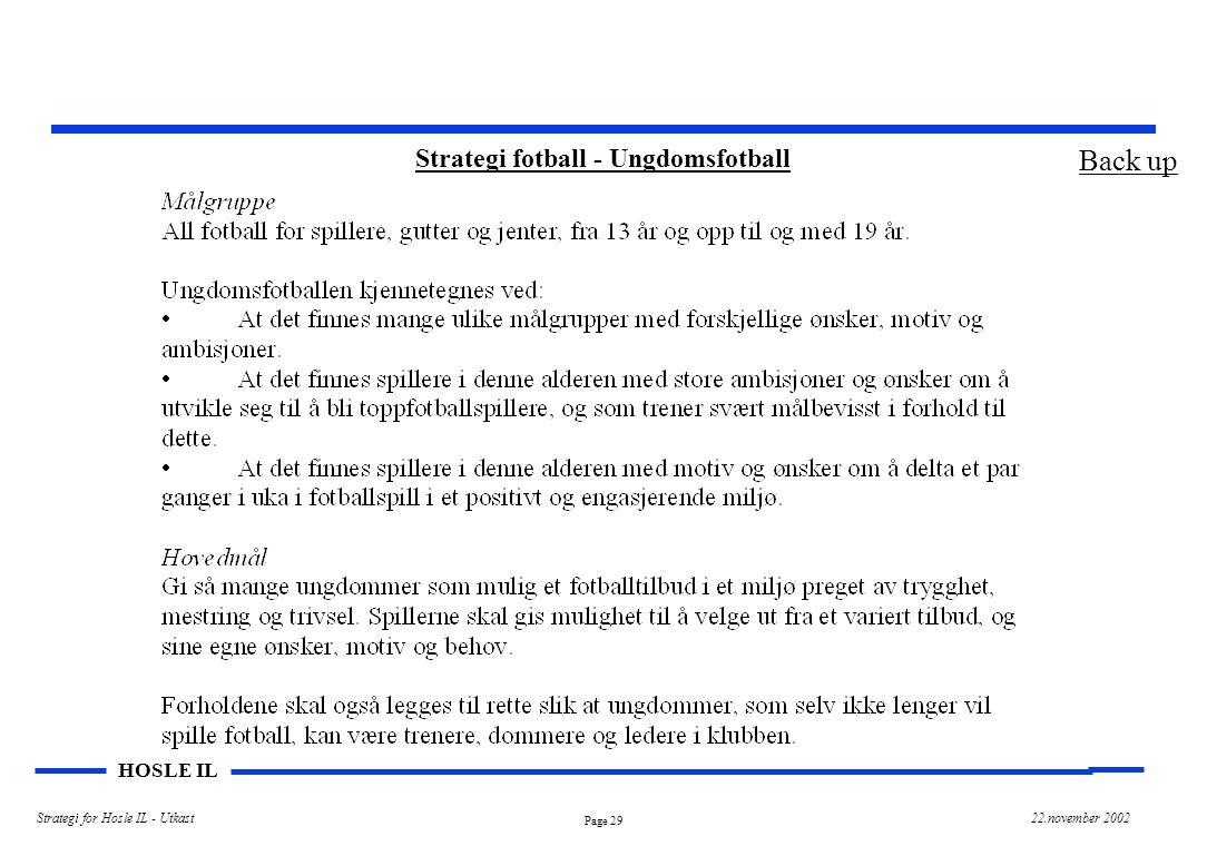Page 29 HOSLE IL Strategi for Hosle IL - Utkast22.november 2002 Strategi fotball - Ungdomsfotball Back up