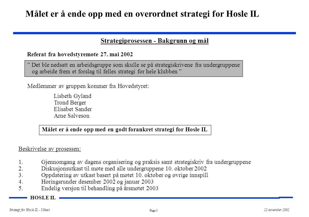 """Page 3 HOSLE IL Strategi for Hosle IL - Utkast22.november 2002 Strategiprosessen - Bakgrunn og mål Referat fra hovedstyremøte 27. mai 2002 """" Det ble n"""