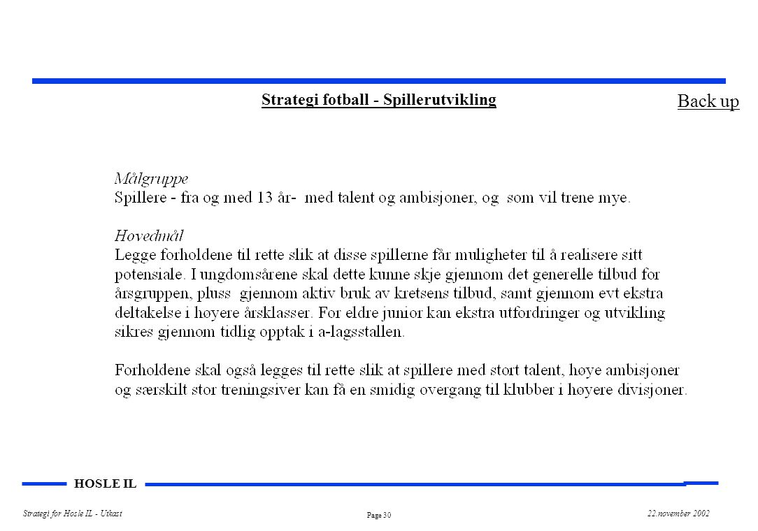 Page 30 HOSLE IL Strategi for Hosle IL - Utkast22.november 2002 Strategi fotball - Spillerutvikling Back up