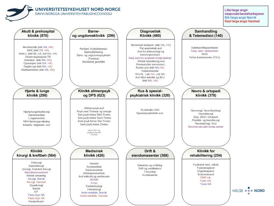 Klinikk for rehabilitering Ny organisering ved UNN fra 2008 Formålet med en klinikkdannelsen er å få en kvalitativt bedre tjeneste for befolkningen i Nord Norge med økt fleksibilitet og bedre ressursutnyttelse Klinikken skal yte gode og fullverdige treapeut-tjenester til alle avdelinger i foretaket Fokus på faglige samordningsgevinster og på å redusere gapet mellom arbeidspress og ressurser Sosionomtjenesten er i dag en egen avdeling i klinikken, men det pågår en prosess med å etablere fremtidig klinikkstruktur og det er mange spennende samarbeidspartnere for sosionomene.