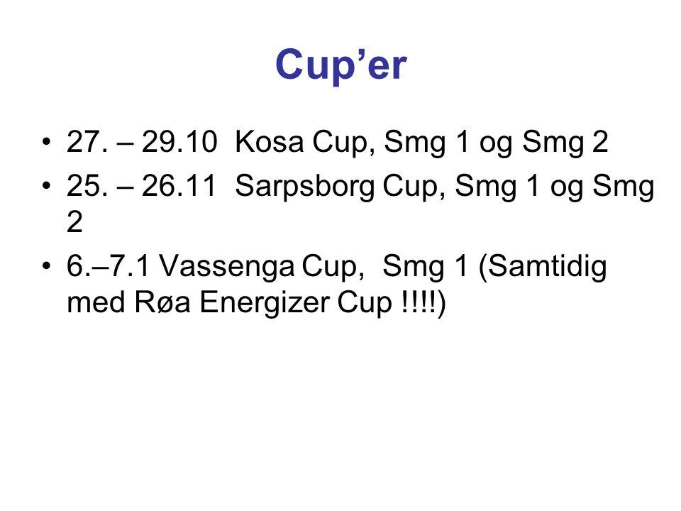 Cup'er 27. – 29.10 Kosa Cup, Smg 1 og Smg 2 25. – 26.11 Sarpsborg Cup, Smg 1 og Smg 2 6.–7.1 Vassenga Cup, Smg 1 (Samtidig med Røa Energizer Cup !!!!)