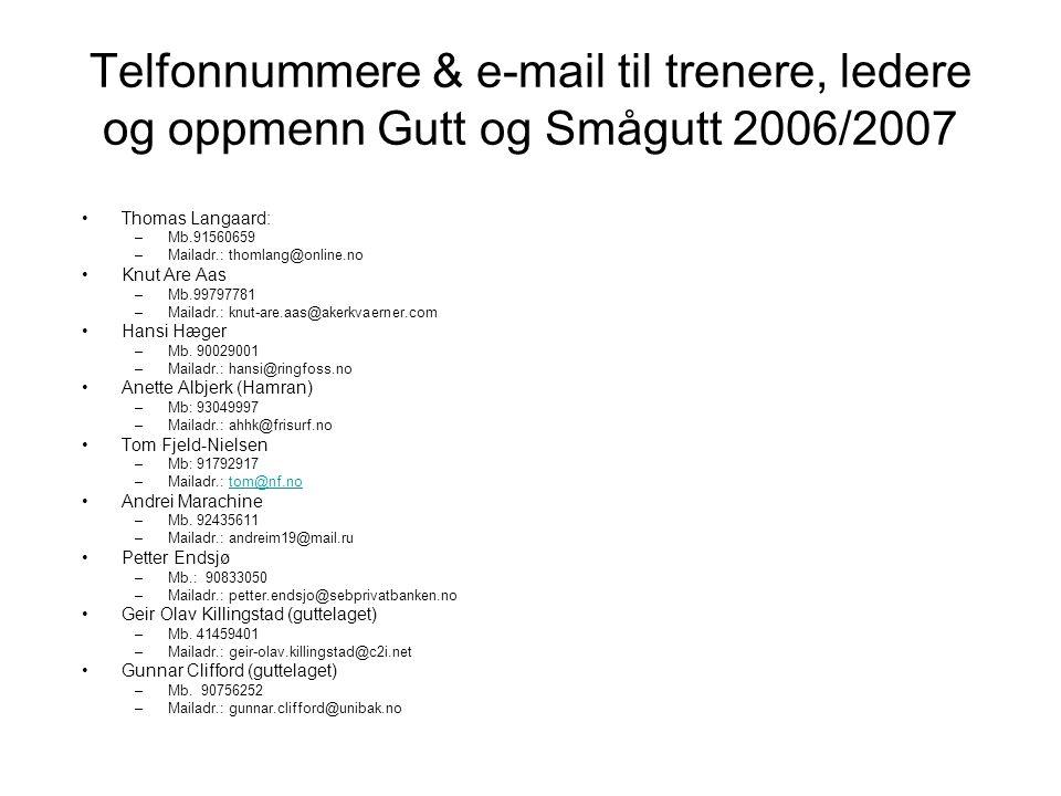 Telfonnummere & e-mail til trenere, ledere og oppmenn Gutt og Smågutt 2006/2007 Thomas Langaard: –Mb.91560659 –Mailadr.: thomlang@online.no Knut Are A