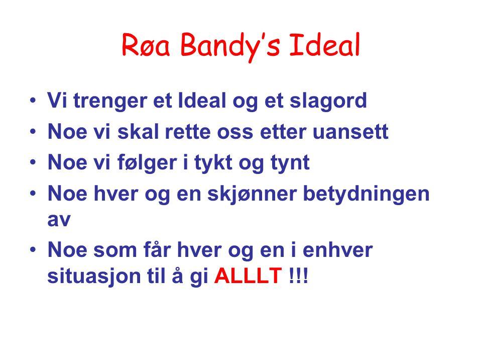 Røa Bandy's Ideal Vi trenger et Ideal og et slagord Noe vi skal rette oss etter uansett Noe vi følger i tykt og tynt Noe hver og en skjønner betydning