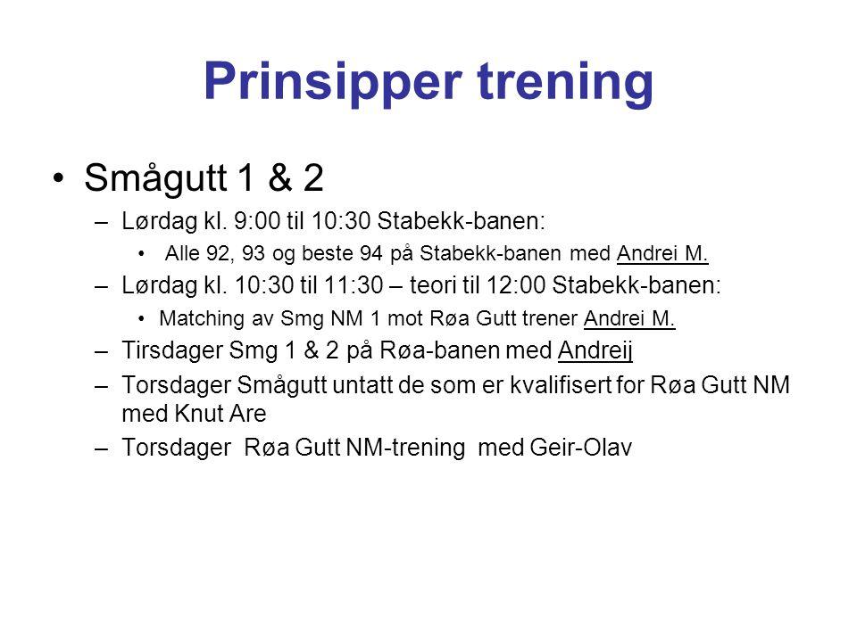 Prinsipper trening Smågutt 1 & 2 –Lørdag kl. 9:00 til 10:30 Stabekk-banen: Alle 92, 93 og beste 94 på Stabekk-banen med Andrei M. –Lørdag kl. 10:30 ti