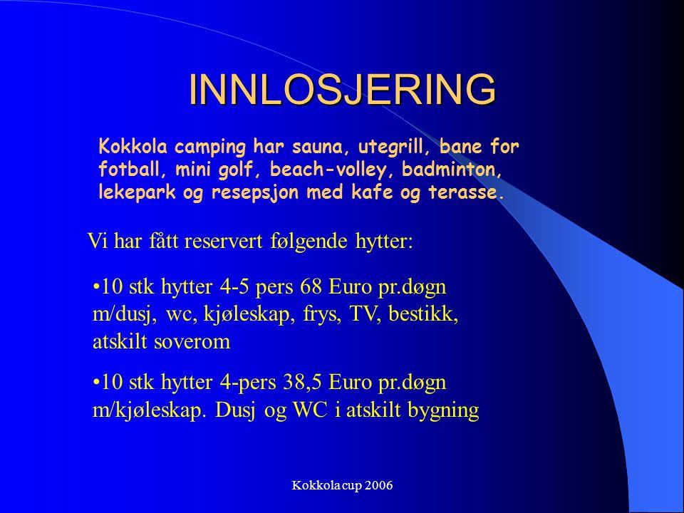 Kokkola cup 2006 INNLOSJERING Det er reservert overnatting for totalt 80-90 personer på Kokkola camping, ca 10-15 min gange i fra sentrum av byen