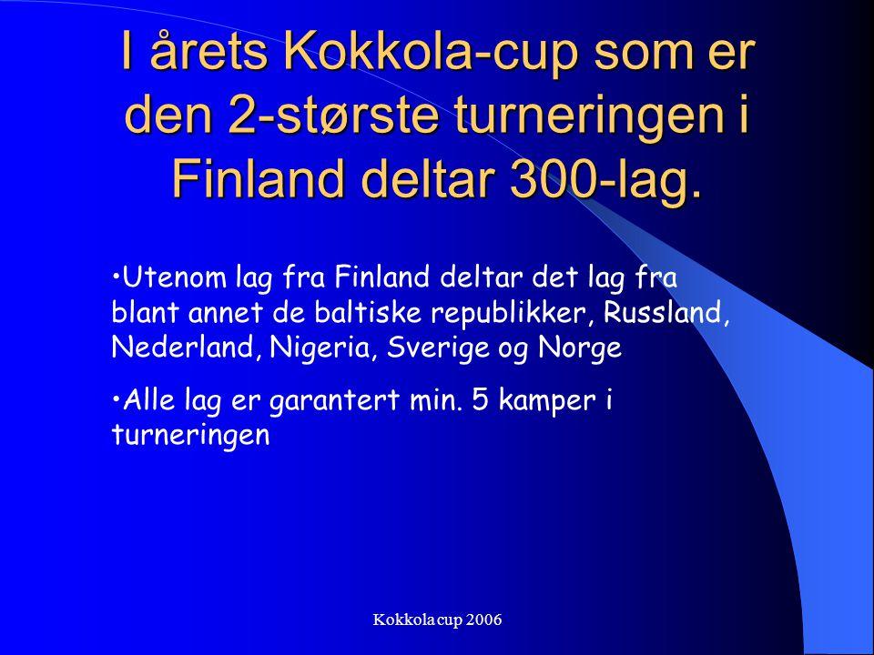 Kokkola cup 2006 I årets Kokkola-cup som er den 2-største turneringen i Finland deltar 300-lag.