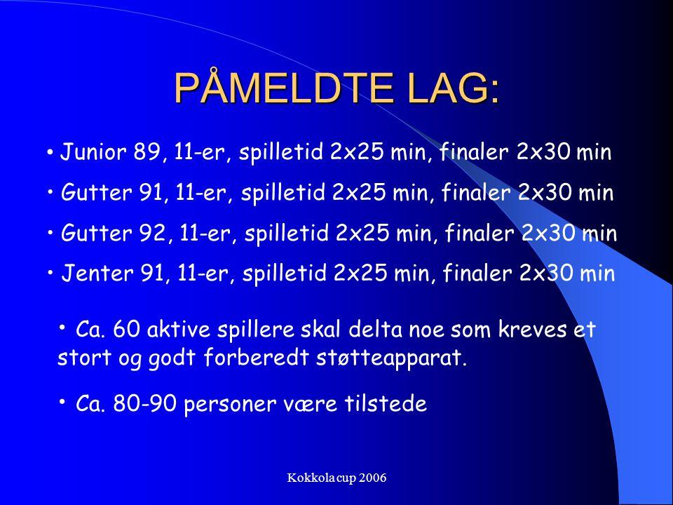 Kokkola cup 2006 PÅMELDTE LAG: Junior 89, 11-er, spilletid 2x25 min, finaler 2x30 min Gutter 91, 11-er, spilletid 2x25 min, finaler 2x30 min Gutter 92, 11-er, spilletid 2x25 min, finaler 2x30 min Jenter 91, 11-er, spilletid 2x25 min, finaler 2x30 min Ca.