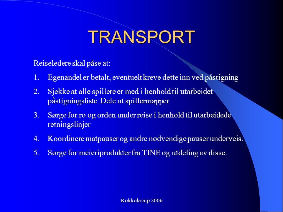 Kokkola cup 2006 TRANSPORT Reiseledere skal påse at: 1.Egenandel er betalt, eventuelt kreve dette inn ved påstigning 2.Sjekke at alle spillere er med i henhold til utarbeidet påstigningsliste.