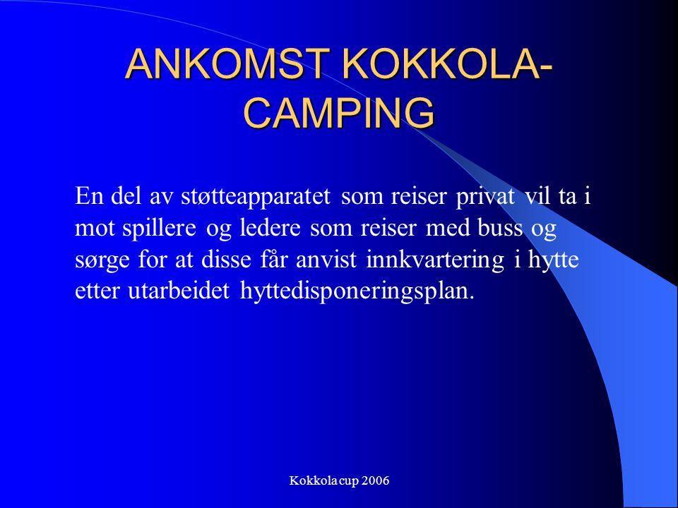 Kokkola cup 2006 ANKOMST KOKKOLA- CAMPING En del av støtteapparatet som reiser privat vil ta i mot spillere og ledere som reiser med buss og sørge for at disse får anvist innkvartering i hytte etter utarbeidet hyttedisponeringsplan.