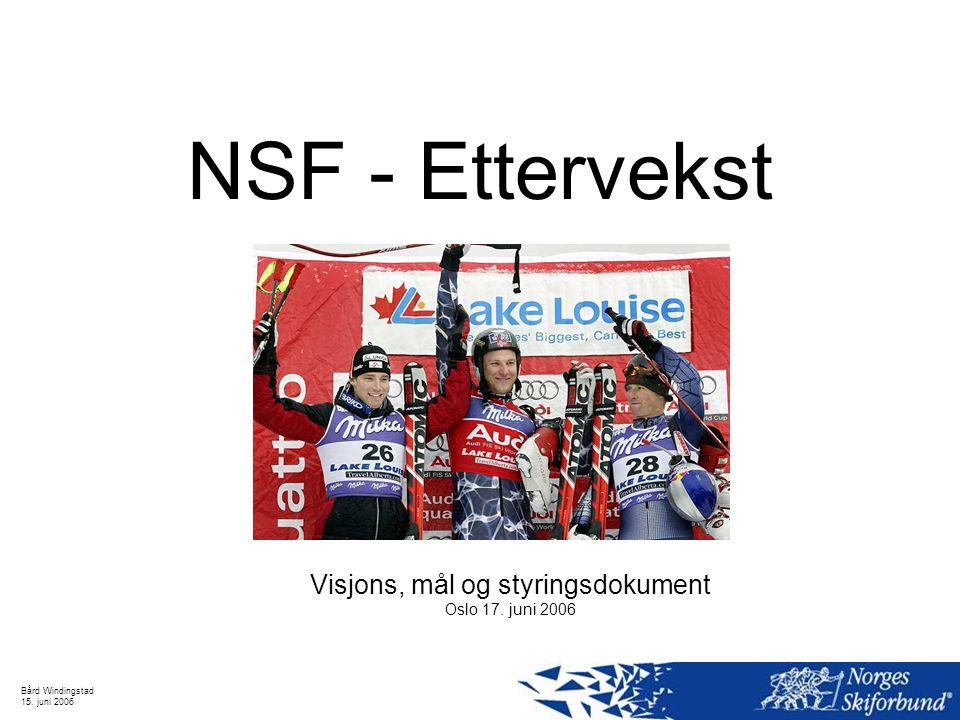 Bård Windingstad 15. juni 2006 NSF - Ettervekst Visjons, mål og styringsdokument Oslo 17. juni 2006