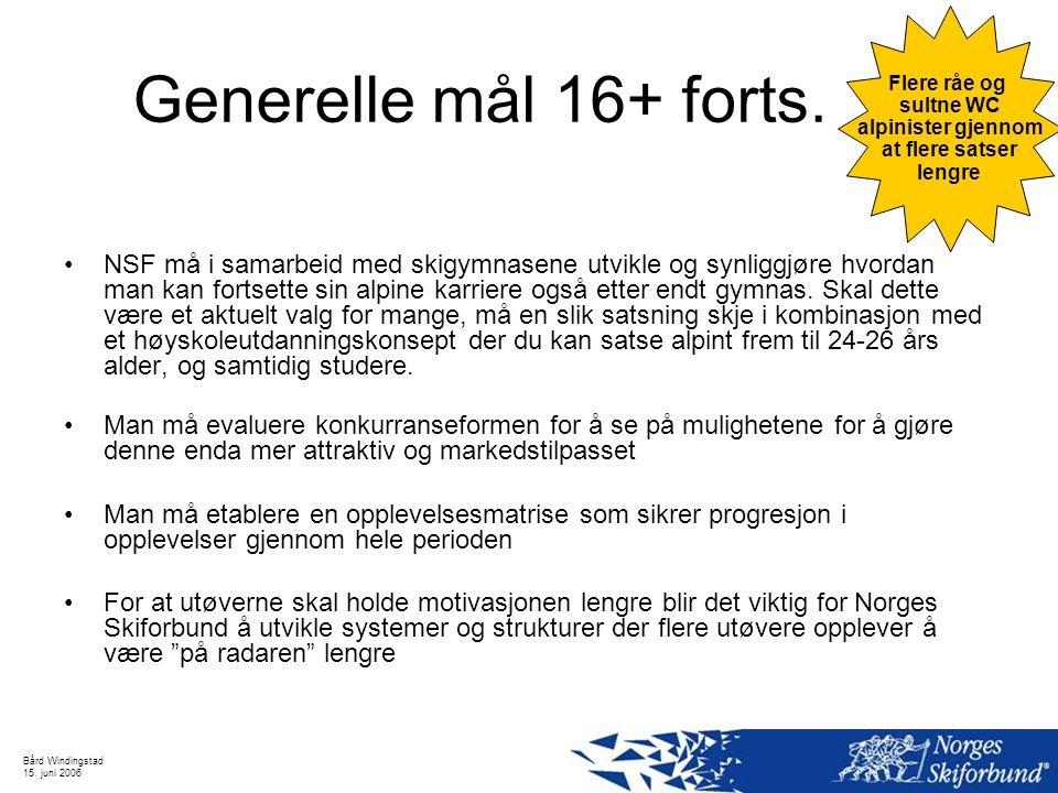 Bård Windingstad 15. juni 2006 Generelle mål 16+ forts. NSF må i samarbeid med skigymnasene utvikle og synliggjøre hvordan man kan fortsette sin alpin
