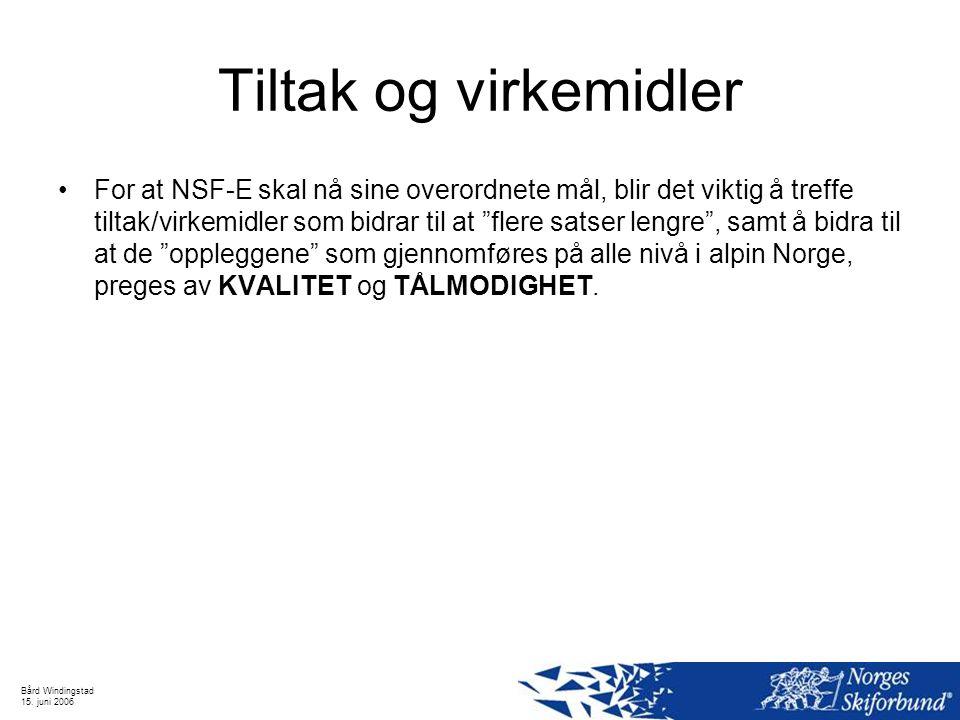 Bård Windingstad 15. juni 2006 Tiltak og virkemidler For at NSF-E skal nå sine overordnete mål, blir det viktig å treffe tiltak/virkemidler som bidrar