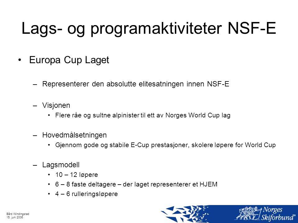 Bård Windingstad 15. juni 2006 Lags- og programaktiviteter NSF-E Europa Cup Laget –Representerer den absolutte elitesatningen innen NSF-E –Visjonen Fl