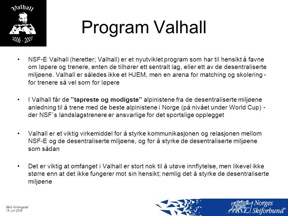 Bård Windingstad 15. juni 2006 Program Valhall NSF-E Valhall (heretter; Valhall) er et nyutviklet program som har til hensikt å favne om løpere og tre