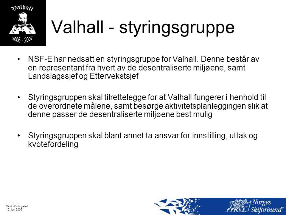Bård Windingstad 15. juni 2006 Valhall - styringsgruppe NSF-E har nedsatt en styringsgruppe for Valhall. Denne består av en representant fra hvert av