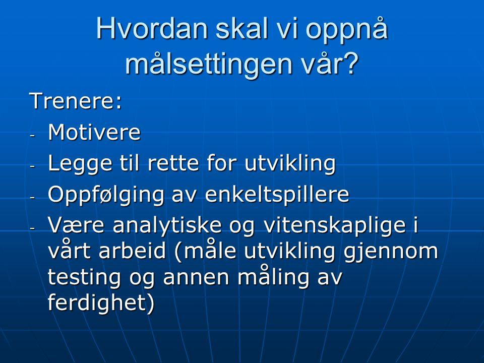 Hvordan skal vi oppnå målsettingen vår? Trenere: - Motivere - Legge til rette for utvikling - Oppfølging av enkeltspillere - Være analytiske og vitens