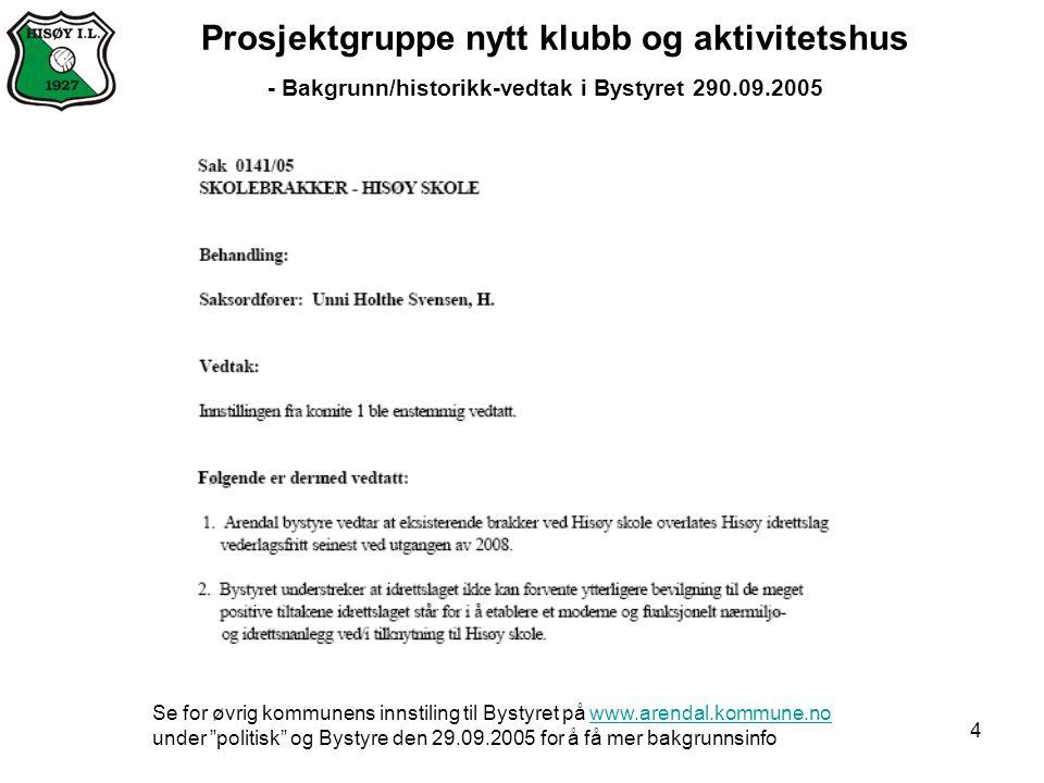 4 Prosjektgruppe nytt klubb og aktivitetshus - Bakgrunn/historikk-vedtak i Bystyret 290.09.2005 Se for øvrig kommunens innstiling til Bystyret på www.
