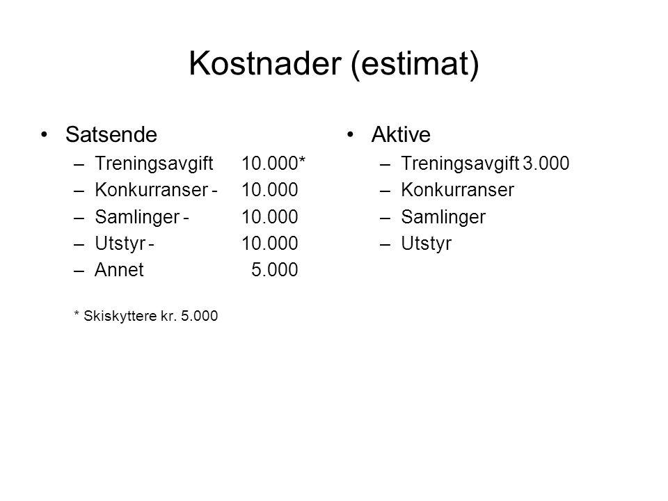 Kostnader (estimat) Satsende –Treningsavgift 10.000* –Konkurranser - 10.000 –Samlinger - 10.000 –Utstyr - 10.000 –Annet 5.000 * Skiskyttere kr. 5.000