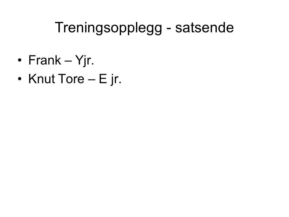 Treningsopplegg - satsende Frank – Yjr. Knut Tore – E jr.