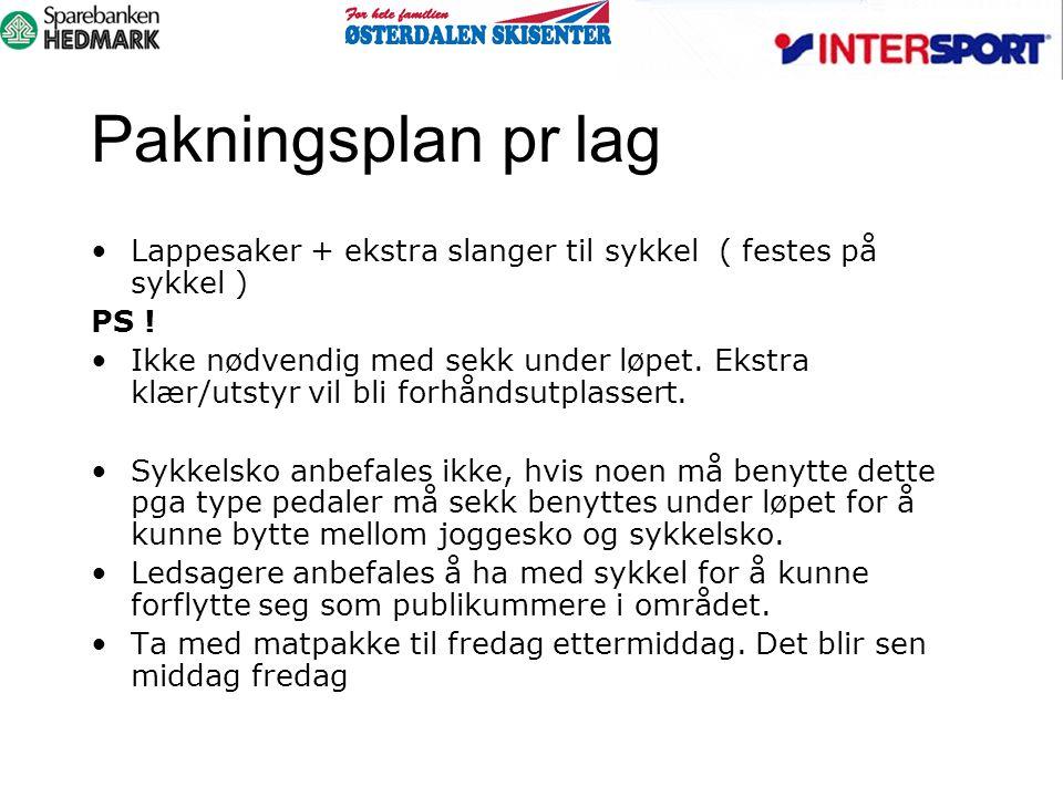 Pakningsplan pr lag Lappesaker + ekstra slanger til sykkel ( festes på sykkel ) PS ! Ikke nødvendig med sekk under løpet. Ekstra klær/utstyr vil bli f