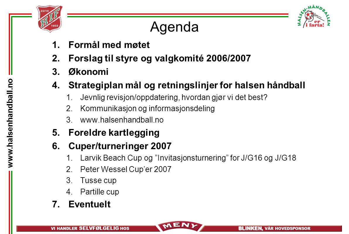 VI HANDLER SELVFØLGELIG HOS BLINKEN, BLINKEN, VÅR HOVEDSPONSOR www.halsenhandball.no Agenda 1.Formål med møtet 2.Forslag til styre og valgkomité 2006/2007 3.Økonomi 4.Strategiplan mål og retningslinjer for halsen håndball 1.Jevnlig revisjon/oppdatering, hvordan gjør vi det best.