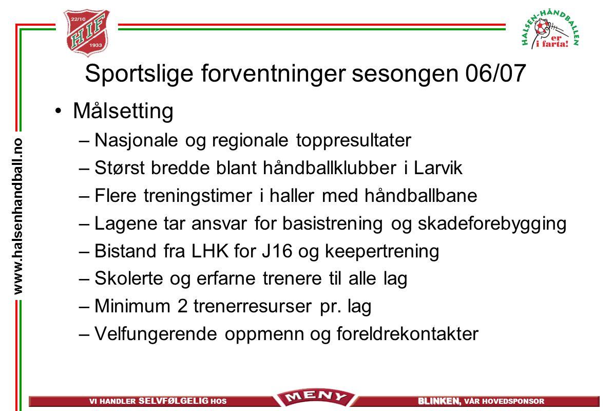 VI HANDLER SELVFØLGELIG HOS BLINKEN, BLINKEN, VÅR HOVEDSPONSOR www.halsenhandball.no Sportslige forventninger sesongen 06/07 Målsetting –Nasjonale og