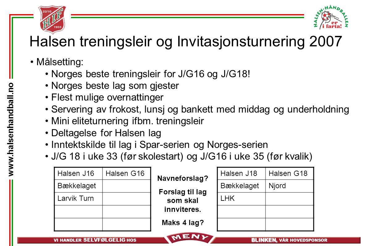 VI HANDLER SELVFØLGELIG HOS BLINKEN, BLINKEN, VÅR HOVEDSPONSOR www.halsenhandball.no Halsen treningsleir og Invitasjonsturnering 2007 Målsetting: Norges beste treningsleir for J/G16 og J/G18.