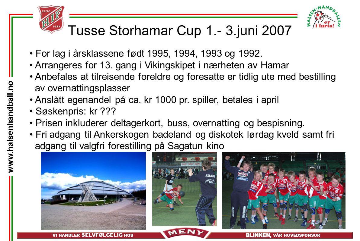 VI HANDLER SELVFØLGELIG HOS BLINKEN, BLINKEN, VÅR HOVEDSPONSOR www.halsenhandball.no Tusse Storhamar Cup 1.- 3.juni 2007 For lag i årsklassene født 19