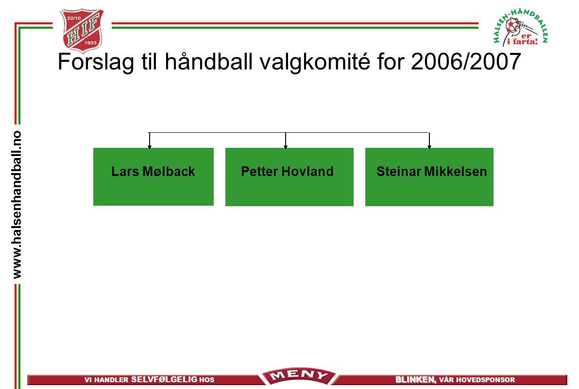 VI HANDLER SELVFØLGELIG HOS BLINKEN, BLINKEN, VÅR HOVEDSPONSOR www.halsenhandball.no Forslag til håndball valgkomité for 2006/2007 Steinar MikkelsenPe