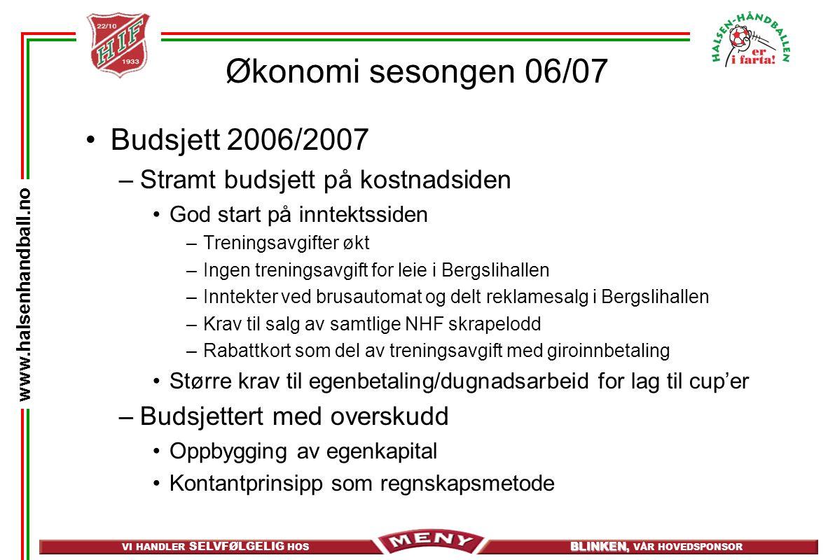 VI HANDLER SELVFØLGELIG HOS BLINKEN, BLINKEN, VÅR HOVEDSPONSOR www.halsenhandball.no Økonomi sesongen 06/07 Budsjett 2006/2007 –Stramt budsjett på kos