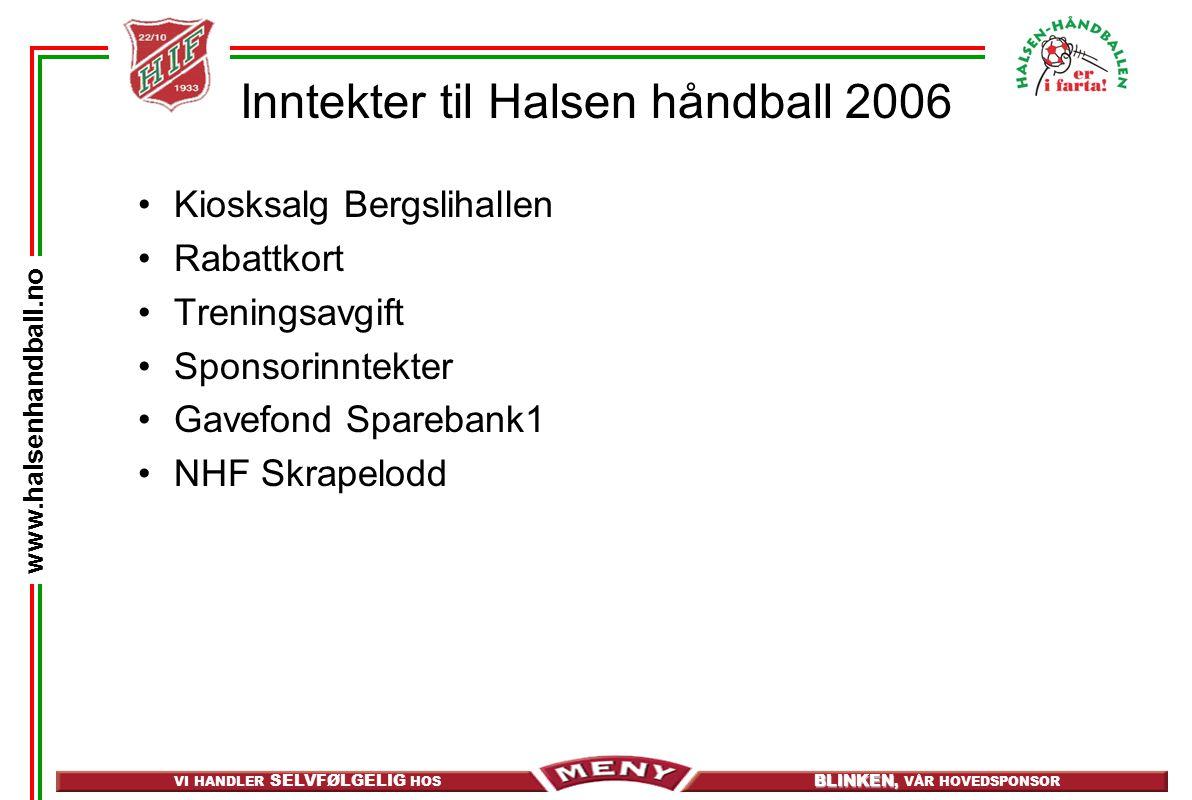 VI HANDLER SELVFØLGELIG HOS BLINKEN, BLINKEN, VÅR HOVEDSPONSOR www.halsenhandball.no Inntekter til Halsen håndball 2006 Kiosksalg Bergslihallen Rabatt