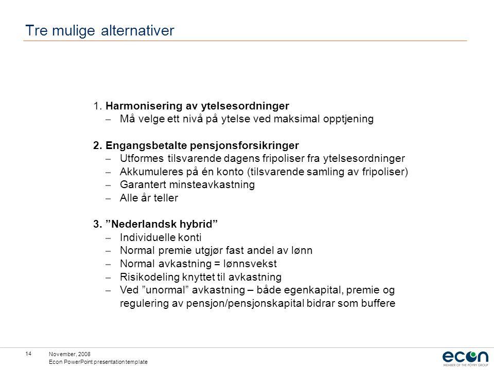 November, 2008 Econ PowerPoint presentation template 14 Tre mulige alternativer 1. Harmonisering av ytelsesordninger – Må velge ett nivå på ytelse ved