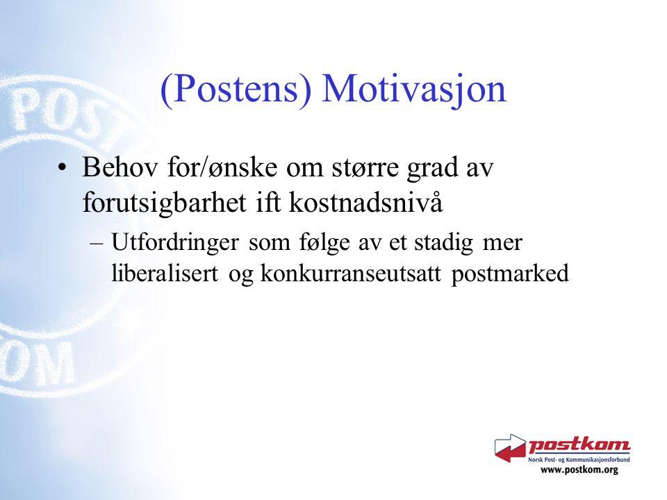 (Postens) Motivasjon Behov for/ønske om større grad av forutsigbarhet ift kostnadsnivå –Utfordringer som følge av et stadig mer liberalisert og konkurranseutsatt postmarked