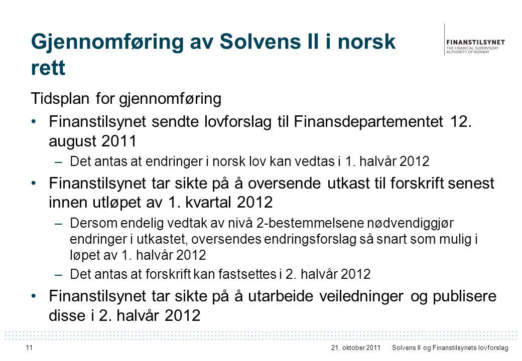 11 Gjennomføring av Solvens II i norsk rett Tidsplan for gjennomføring Finanstilsynet sendte lovforslag til Finansdepartementet 12. august 2011 –Det a