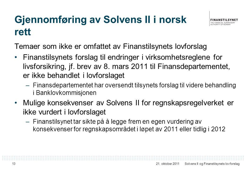 13 Gjennomføring av Solvens II i norsk rett Temaer som ikke er omfattet av Finanstilsynets lovforslag Finanstilsynets forslag til endringer i virksomh