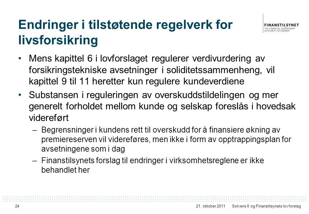 24 Endringer i tilstøtende regelverk for livsforsikring Mens kapittel 6 i lovforslaget regulerer verdivurdering av forsikringstekniske avsetninger i s